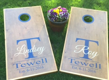 Monogram Custom Wedding Cornhole Decals | Krazy Signs USA